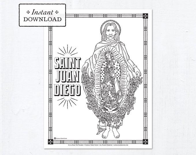 Catholic Coloring Page - Saint Juan Diego - Catholic Saints - Printable Coloring Page - Digital - PDF
