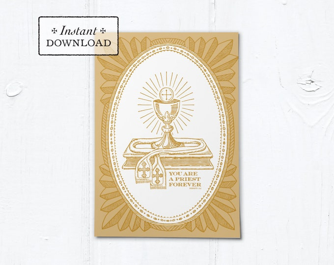 "Catholic Priestly Ordination Card Gold Ciborium - Instant Download - DIY Downloadable PDF 5""x7"""