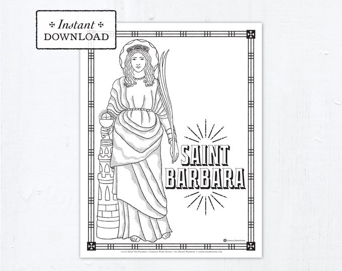 Catholic Coloring Page - Saint Barbara - Catholic Saints - Printable Coloring Page - Digital - PDF