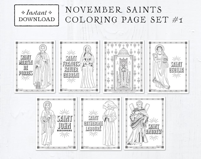Catholic Coloring Pages - November Saints Set #1 - Bundle of 7 - Catholic Saints - Printable Coloring Pages - Digital - PDF Download