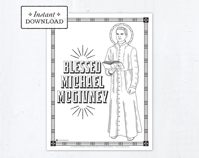 Catholic Coloring Page - Blessed Michael McGivney - Catholic Saints - Printable Coloring Page - Digital - PDF Carlo Acutis Coloring Page
