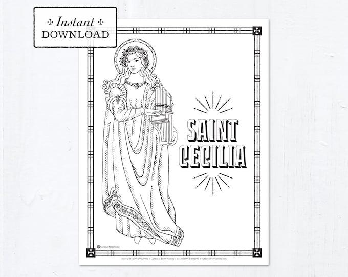Catholic Coloring Page - Saint Cecilia - Catholic Saints - Printable Coloring Page - Digital - PDF