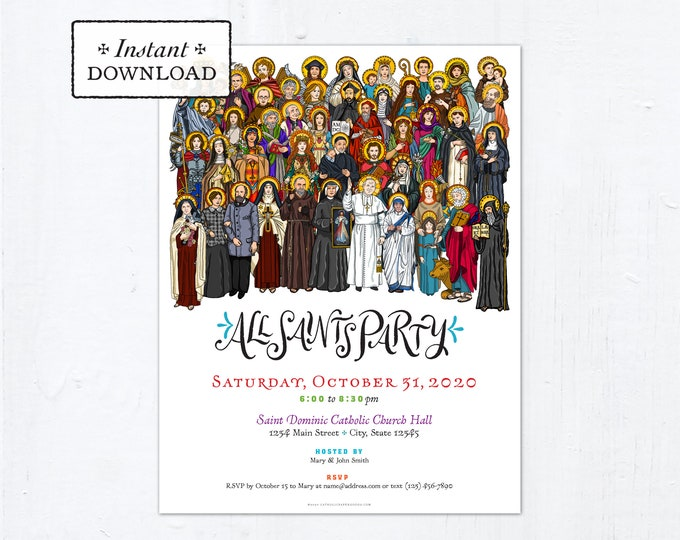"""All Saints Day Party Invitation Flyer Customizable Template - Downloadable PDF 8.5""""x11"""""""