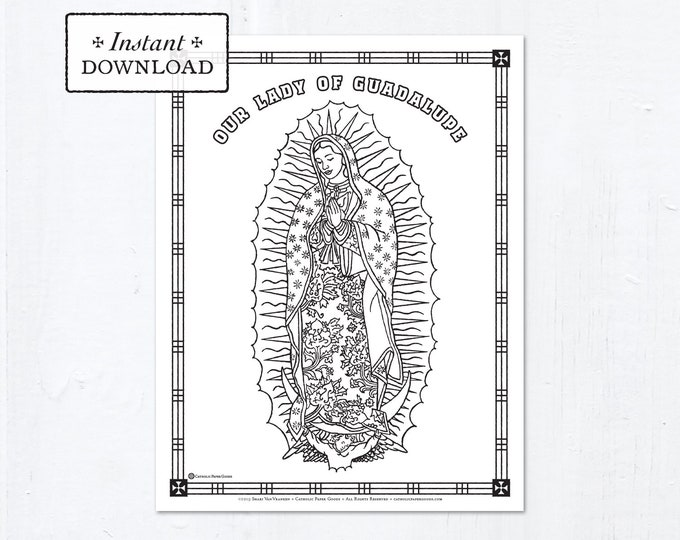 Catholic Coloring Page - Our Lady of Guadalupe - Catholic Marian Art - Printable Coloring Page - Digital - PDF