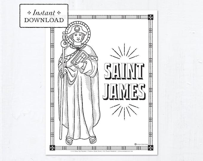 Catholic Coloring Page - Saint James - Catholic Saints - Printable Coloring Page - Digital - PDF
