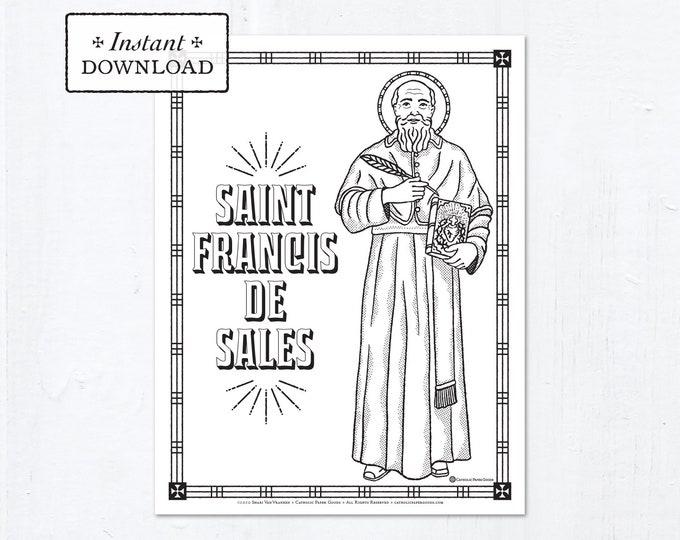 Catholic Coloring Page - Saint Francis de Sales - Catholic Saints - Printable Coloring Page - Digital - PDF