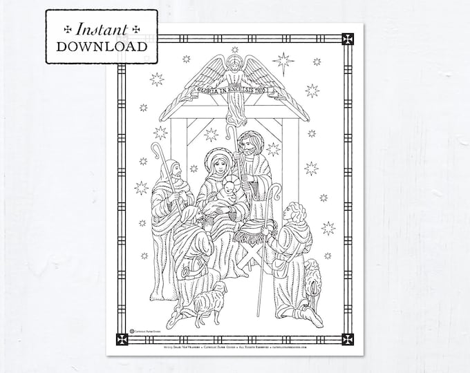 Catholic Coloring Page - Christmas - The Nativity of Jesus Christ - Printable Coloring Page - Digital - PDF - Downloadable Coloring Page