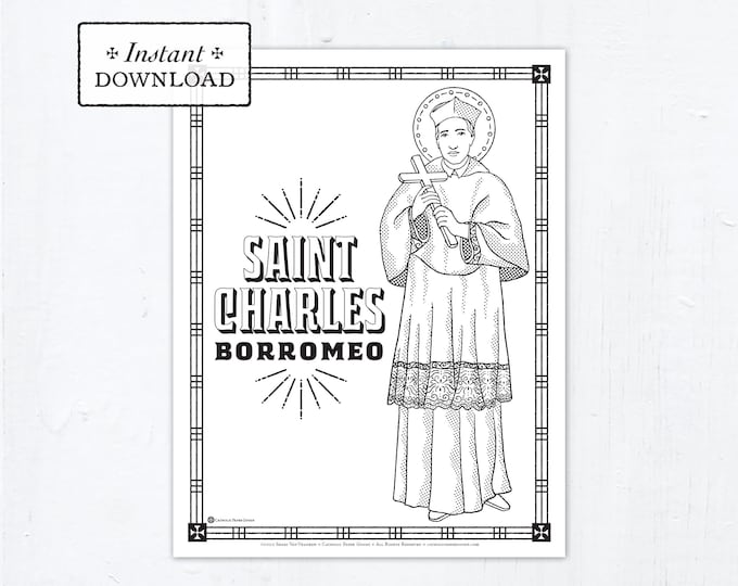 Catholic Coloring Page - Saint Charles Borromeo - Catholic Saints - Printable Coloring Page - Digital - PDF