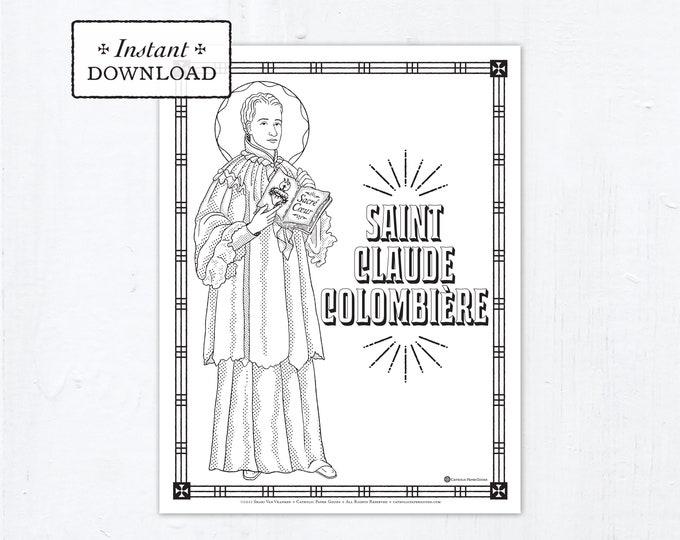 Catholic Coloring Page - Saint Claude Colombiere - Catholic Saints - Printable Coloring Page - Digital - PDF St Claude Colombière