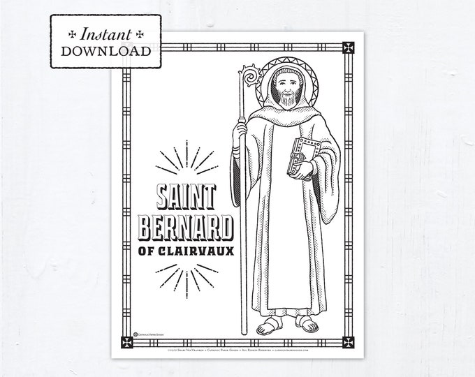 Catholic Coloring Page - Saint Bernard of Clairvaux - Catholic Saints - Printable Coloring Page - Digital - PDF