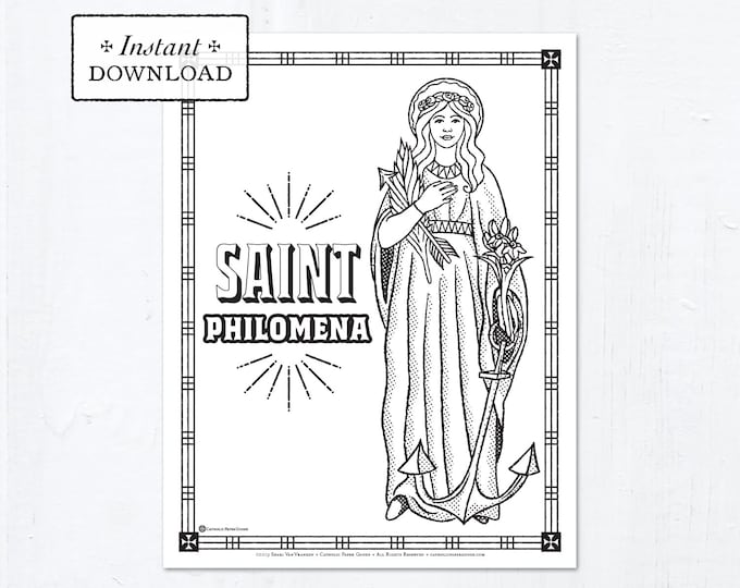 Catholic Coloring Page - Saint Philomena - Catholic Saints - Printable Coloring Page - Digital - PDF