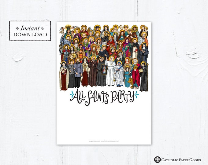 """All Saints Day Party Invitation Flyer DIY Template - Downloadable PDF & JPG 8.5""""x11"""""""