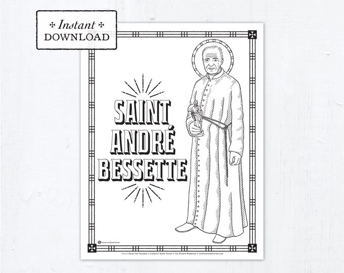 Catholic Coloring Page - Saint Andre Bessette - Saint André Bessette - Catholic Saints - Printable Coloring Page - Digital - PDF