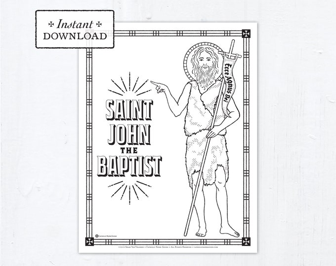Catholic Coloring Page - Saint John the Baptist - Catholic Saints - Printable Coloring Page - Digital - PDF
