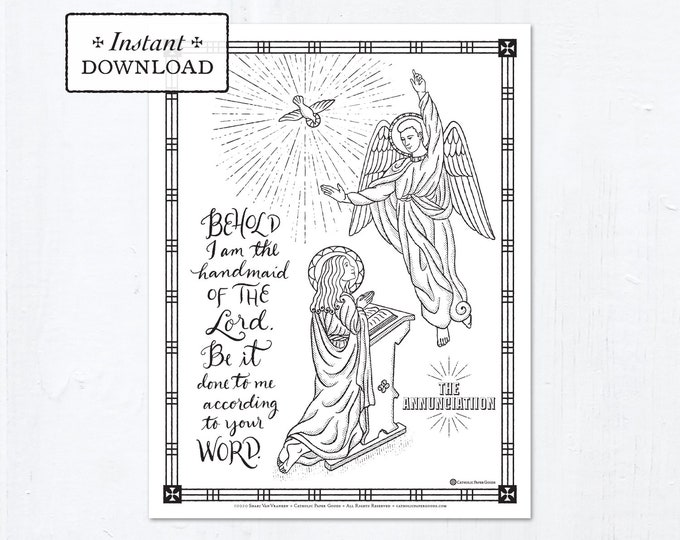 Catholic Coloring Page - The Annunciation of the Lord - Catholic Printable Coloring Page - Digital - PDF