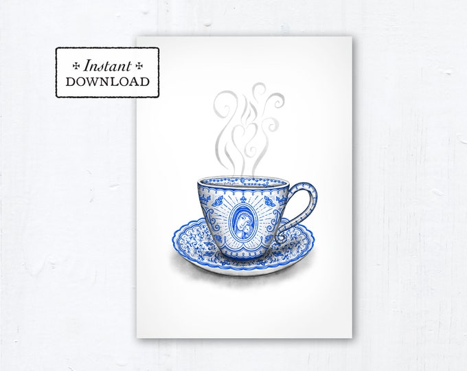 "Marian Teacup Card - Art Print - Instant Download - DIY Downloadable PDF 5""x7"" - Catholic Printable Card Mother's Day Card Marian Art"