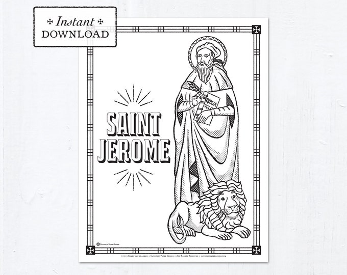 Catholic Coloring Page - Saint Jerome - Catholic Saints - Printable Coloring Page - Digital - PDF