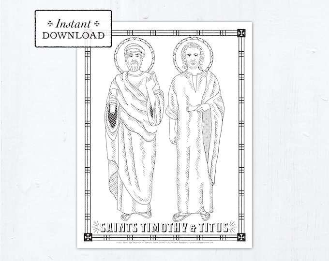 Catholic Coloring Page - Saints Timothy and Titus - Catholic Saints - Printable Coloring Page - Digital - PDF
