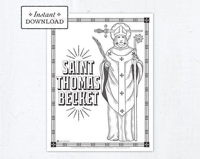 Catholic Coloring Page - Saint Thomas Becket - Catholic Saints - Printable Coloring Page - Digital - PDF - St Thomas Becket