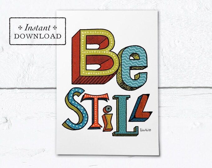 "Be Still Greeting Card - Instant Download - DIY Downloadable PDF 5""x7"""