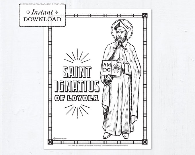 Catholic Coloring Page - Saint Ignatius of Loyola - Catholic Saints - Printable Coloring Page - Digital - PDF