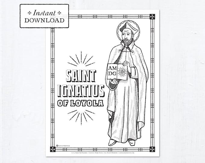Catholic Coloring Page - Saint Ignatius of Loyola - Catholic Saints - Printable Coloring Page - Digital - PDF