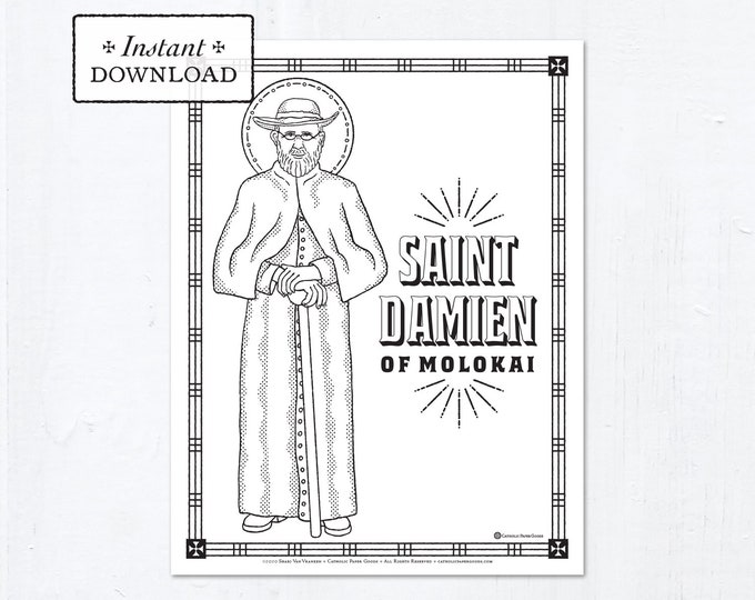 Catholic Coloring Page - Saint Damien of Molokai - Catholic Saints - Printable Coloring Page - Digital - PDF