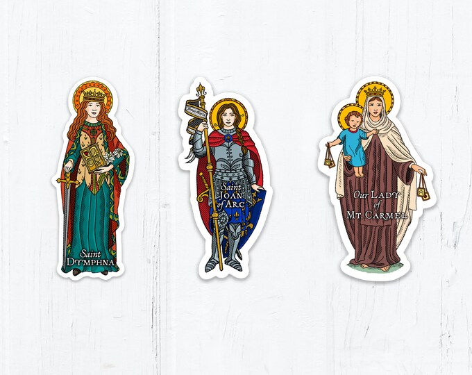 3 Inch Saint Sticker St. Dymphna, St. Joan of Arc OR Our Lady of Mount Carmel Die Cut Vinyl Peel & Stick Decals Stickers Catholic Saints