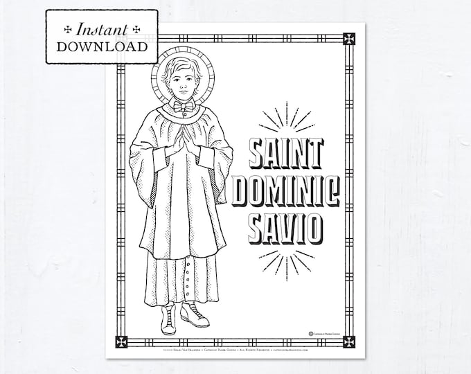 Catholic Coloring Page - Saint Dominic Savio - Catholic Saints - Printable Coloring Page - Digital - PDF