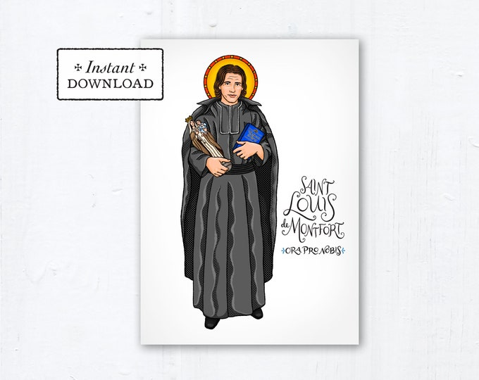 "Saint Louis de Montfort Card - Art Print - Instant Download - DIY Downloadable PDF 5""x7"" - Saint Card Saint Art Print Confirmation Gift"