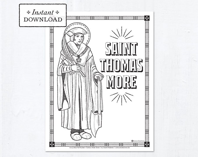 Catholic Coloring Page - Saint Thomas More - Catholic Saints - Printable Coloring Page - Digital - PDF