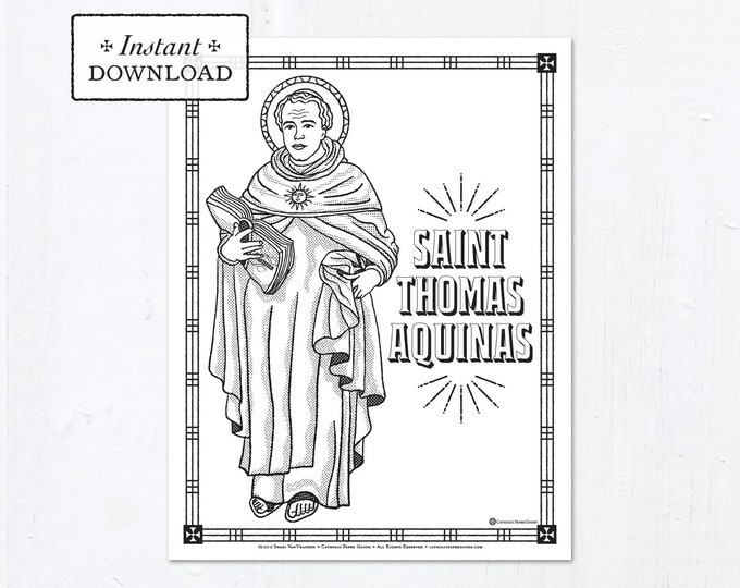 Catholic Coloring Page - Saint Thomas Aquinas - Catholic Saints - Printable Coloring Page - Digital - PDF
