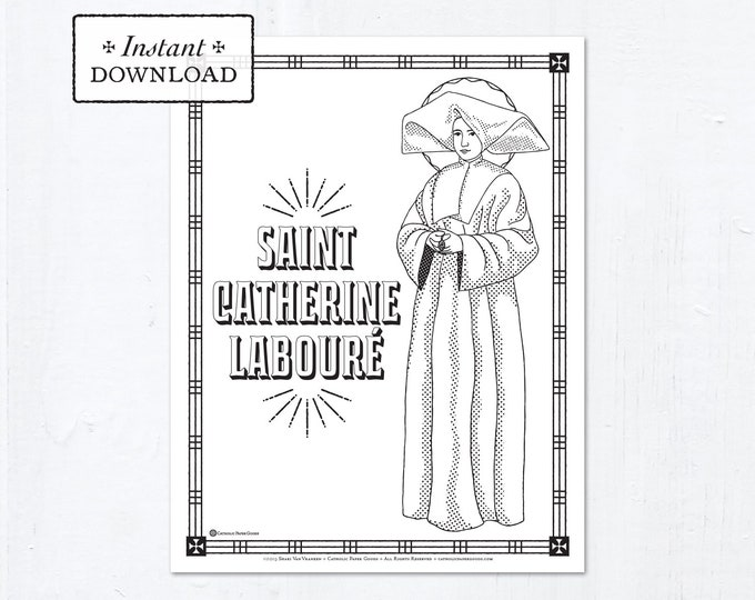 Catholic Coloring Page - Saint Catherine Labouré - Catholic Saints - Printable Coloring Page - Digital - PDF