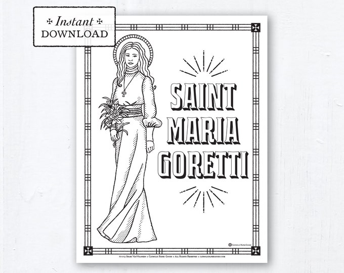 Catholic Coloring Page - Saint Maria Goretti - Catholic Saints - Printable Coloring Page - Digital - PDF