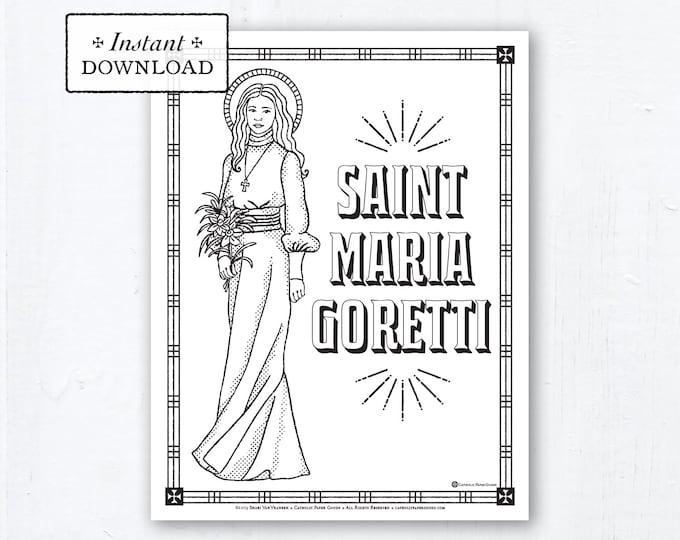 Catholic Coloring Page - Saint Maria Goretti - Catholic Saints - Printable Coloring Page - Digital - PDF