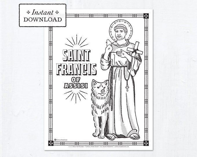 Catholic Coloring Page - Saint Francis of Assisi - Catholic Saints - Printable Coloring Page - Digital - PDF