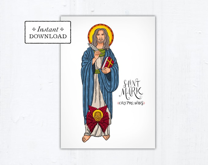 "St. Mark Card - Art Print - Instant Download - DIY Downloadable PDF 5""x7"""