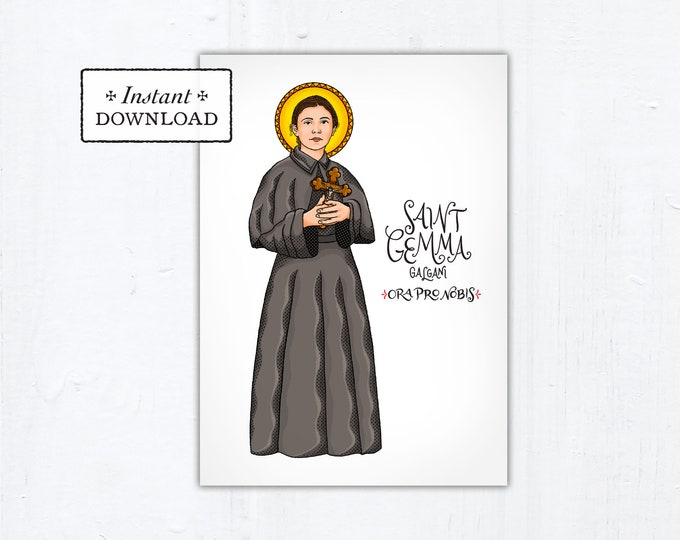 "St. Gemma Galgani Card - Art Print - Instant Download - DIY Downloadable PDF 5""x7"""