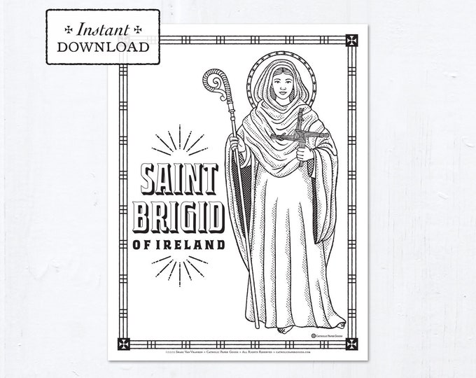 Catholic Coloring Page - Saint Brigid of Ireland - Catholic Saints - Printable Coloring Page - Digital - PDF