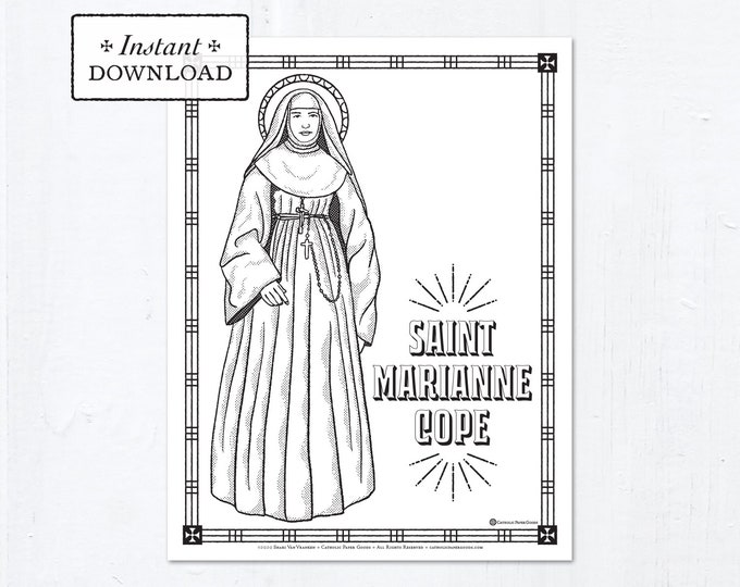 Catholic Coloring Page - Saint Marianne Cope - Catholic Saints - Printable Coloring Page - Digital - PDF