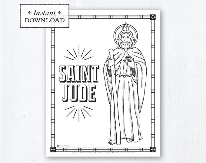 Catholic Coloring Page - Saint Jude - Catholic Saints - Printable Coloring Page - Digital - PDF