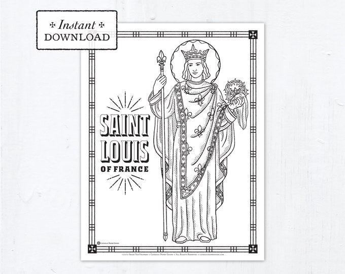 Catholic Coloring Page - Saint Louis of France - Catholic Saints - Printable Coloring Page - Digital - PDF