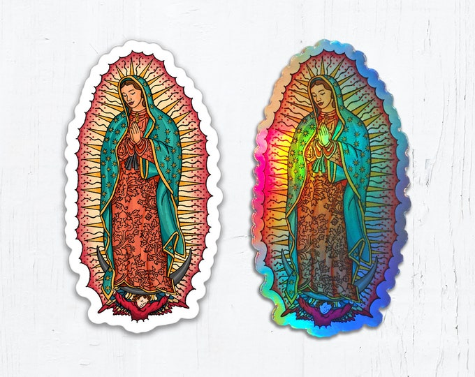 "Our Lady of Guadalupe Die Cut Oval Vinyl Sticker White or Holographic Sticker 1.62"" x 3"" Peel & Stick Holographic Catholic Sticker"