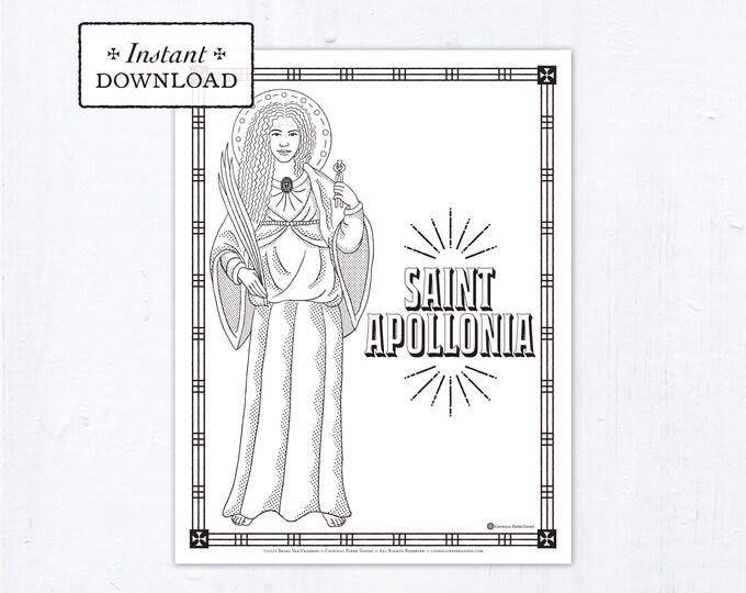 Catholic Coloring Page - Saint Apollonia - Catholic Saints - Printable Coloring Page - Digital - PDF St Apollonia