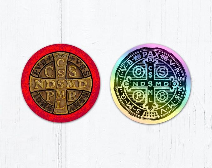 """St. Benedict Medal 3"""" Circle Color OR Black Holographic Cut Vinyl Sticker Peel & Stick Weatherproof Dishwasher Safe"""