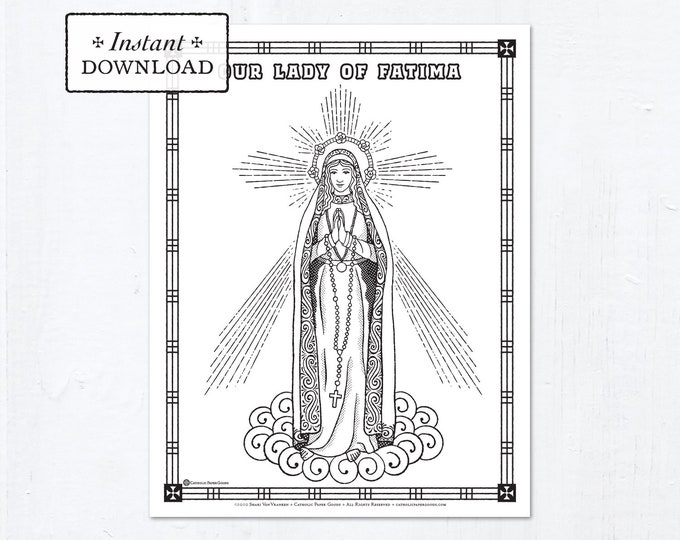 Catholic Coloring Page - Our Lady of Fatima - Catholic Saints - Printable Coloring Page - Digital - PDF