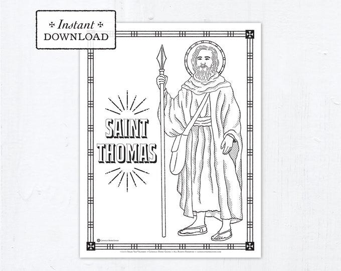 Catholic Coloring Page - Saint Thomas the Apostle - Catholic Saints - Printable Coloring Page - Digital - PDF