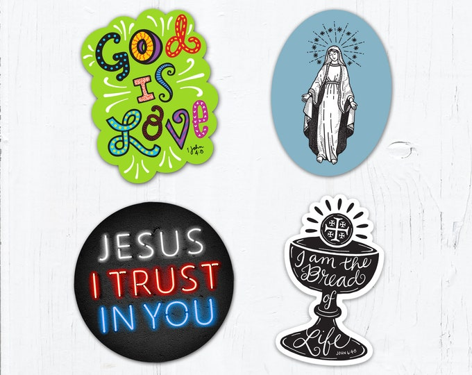 "Set of 4 Catholic Stickers 3"" Vinyl - Blessed Virgin Mary - Divine Mercy - God is Love - Bread of Life - Weatherproof  Peel & Stick"