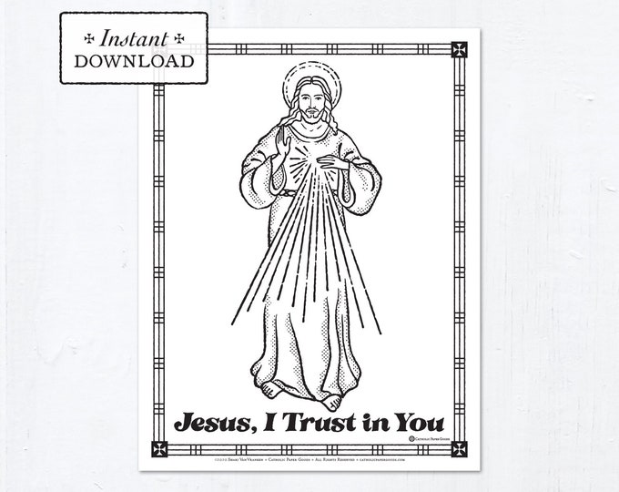Catholic Coloring Page - The Divine Mercy - Jesus I Trust in You - Printable Coloring Page - Digital - PDF