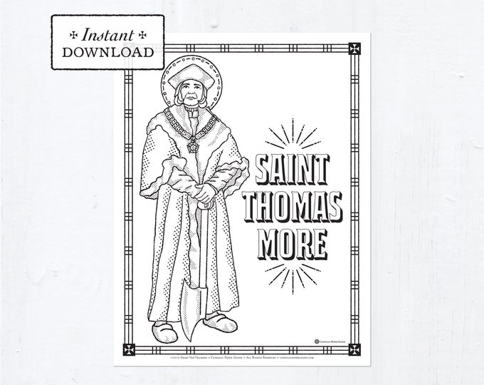 Catholic Coloring Page - Saint Thomas More - Catholic Saints - Printable Coloring Page - Digital - PDF